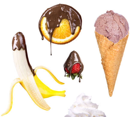 tasty dessert set - Banana, strawberry, orange, ice cream, chocolate photo