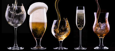 alcohol drinks set isolated on a black background - beer,wine,champagne,scotch,soda photo