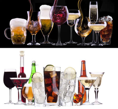 different images of alcohol  - beer, martini, cola, champagne, wine, juice, scotch, whiskey