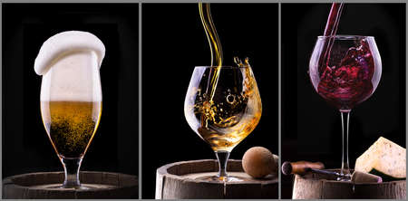 alcohol drinks set isolated on a black background - beer, wine, scotch photo