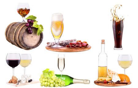 red wine, champagne,beer,alcohol cocktail  with corkscrew,grape,Blue berrie, ice bucket on a vintage wooden table isolated photo