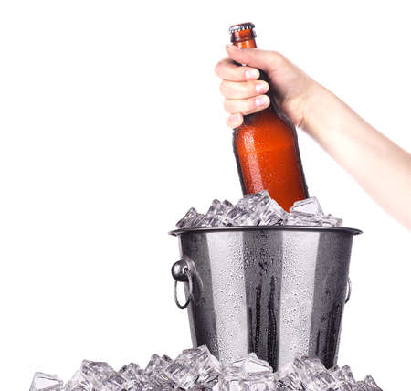 Beer bottles in ice bucket isolated on white photo