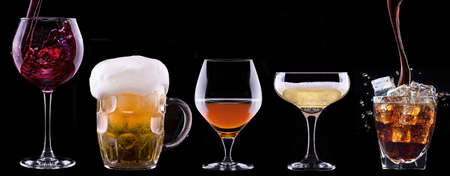 alcohol drinks set isolated on a black background  photo