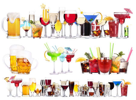 food and drink industry: different  alcohol drinks set isolated- beer, martini, cola, champagne, wine, juice