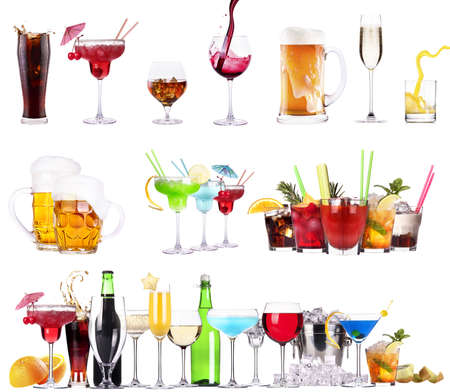 different  alcohol drinks set isolated- beer, martini, cola, champagne, wine, juice photo