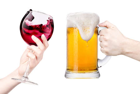 celebrate the holiday background - hands with wine and beer making toast