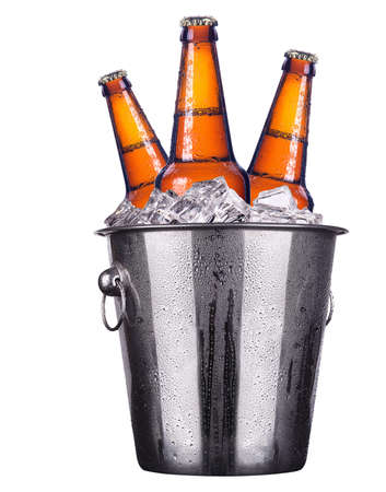 beer bucket: Beer bottles in ice bucket isolated on white