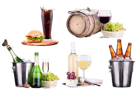 champagne, wine, beer, ice, food, grapes, cola, burger photo