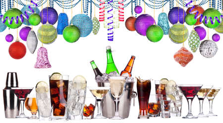 christmas alcohol drinks set   - beer, wine, champagne, scotch, soda photo