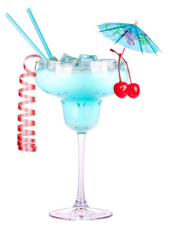alcoholic cocktail with christmas decoraion isolated on a white background photo