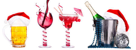 different  alcohol drinks set isolated - beer, champagne, wine, cocktail photo