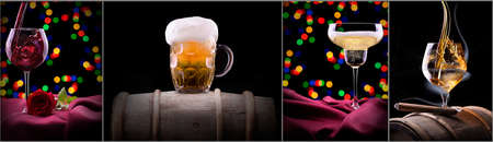 alcohol drinks set black background - beer, wine, scotch, champagne photo