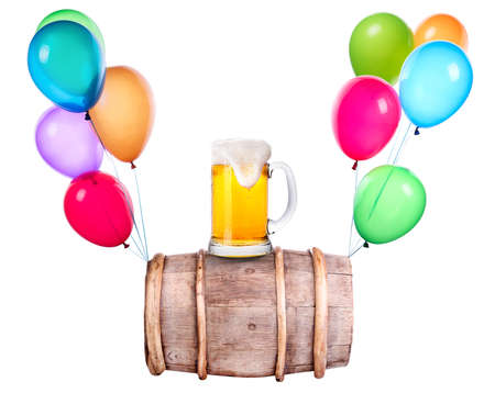 Beer with flying balloons isolated on white photo