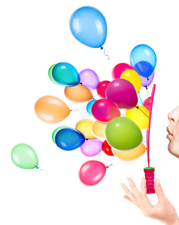 bubble wand and flying balloons on white background Stockfoto