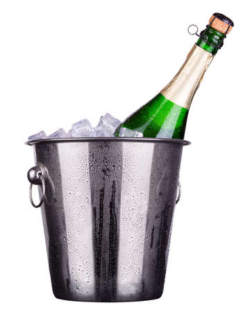 champagne  Metal ice bucket  isolated on a white baclground photo