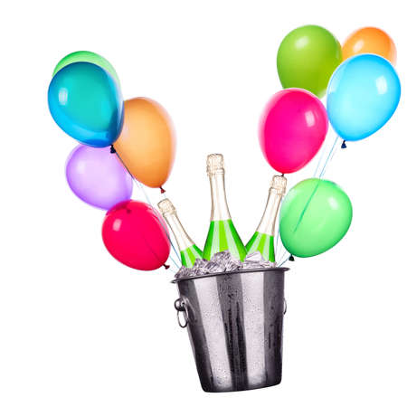 party concept with champagne and flying balloons photo