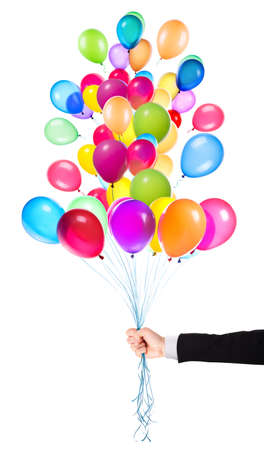 flying balloons with Businessman hand isolated on a white  photo