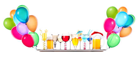 balloon background: alcohol set on a flying tray with lot of air balloons
