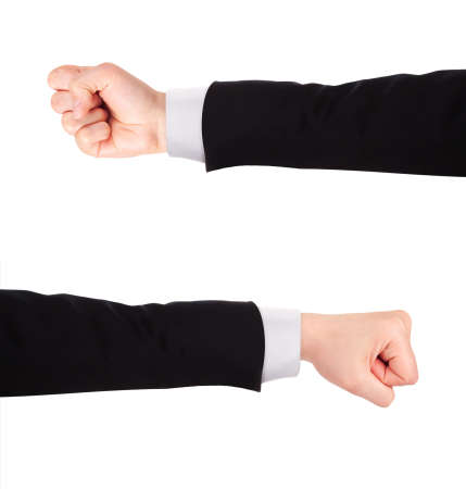 rally finger: Businessmans fist pump against a white background