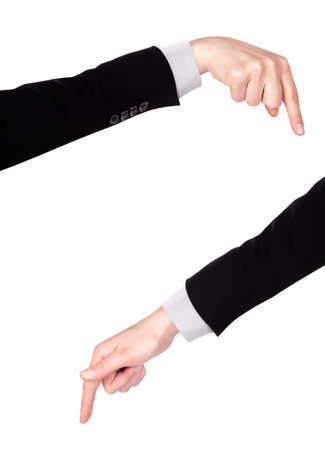image of a Businessman's  finger pointing  or touching isolated photo