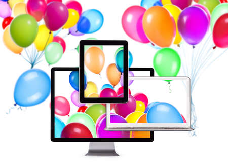 Birthday Balloons on Laptop Screen, Tablet PC and computer monitor Stock Photo - 24050798