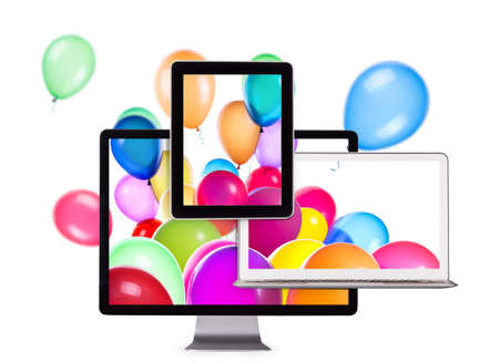 Birthday Balloons on Laptop Screen, Tablet PC and computer monitor photo
