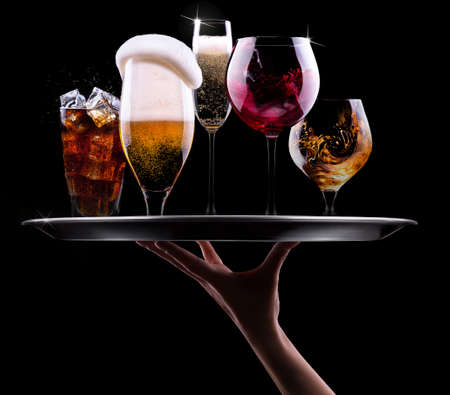 tray with different drinks on black background - champagne, beer, cocktail, wine, brandy, whiskey, scotch, vodka, cognac Stock fotó - 24266182