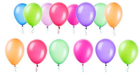 air baloon: flying balloons isolated on a white background Stock Photo