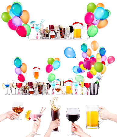 different  alcohol drinks set isolated- beer, martini, cola, scotch, champagne, wine, juice Stock Photo