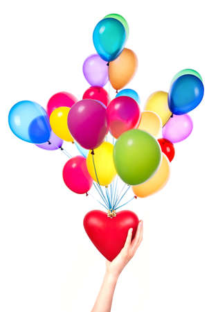 Health insurance or love concept isolated with  heart and balloons photo