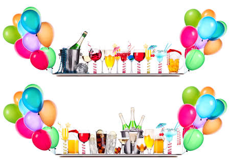 beer bucket: alcohol drinks set  with lot of air balloons - beer, wine, champagne, cola, scotch, brandy