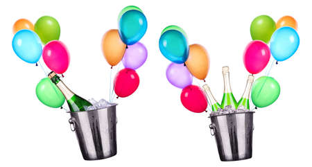 Celebration background with Champagne and balloons on white photo