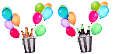 Beer bottles in ice bucket and flying balloons isolated on white photo