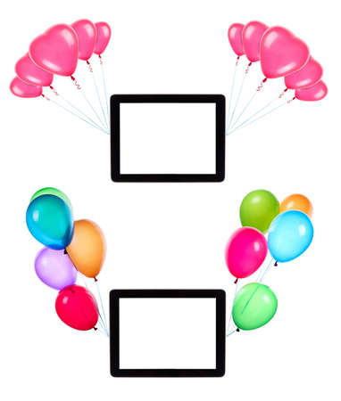 tablet computer with empty touch screen hanging on color balloons rising high Stock Photo - 25076334