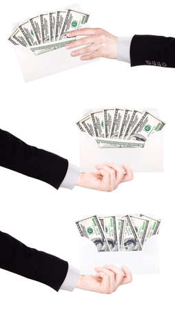 venality: Businessman Hand and money in envelope isolated on white background Stock Photo
