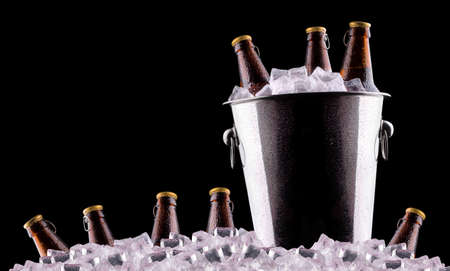 Beer bottles in ice bucket isolated on black