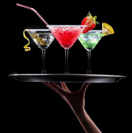 alcohol cocktail set on a black. Berry cooler cocktail, martini, mojito photo