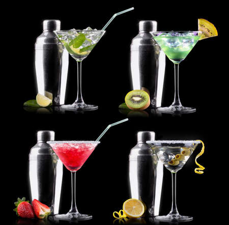 alcohol cocktail set on a black. Berry cooler cocktail, martini, mojito, Smoothie photo
