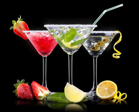 colada: alcohol cocktail set with tasty summer fruits. Berry cooler cocktail, martini, mojito,  Pina Colada Stock Photo