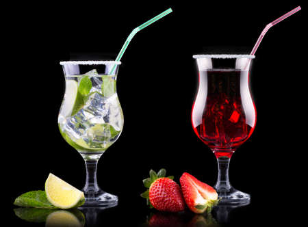 alcohol cocktail set on a black party background photo