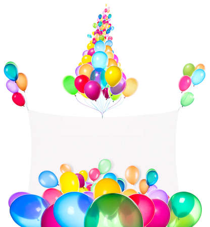 Holiday banners with colorful balloons isolated on white photo