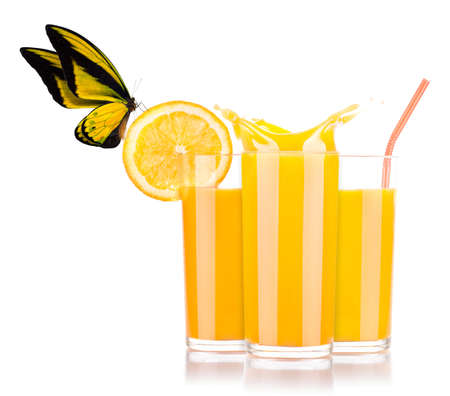 fresh orange juice with tasty citrus slice and beautiful butterfly photo
