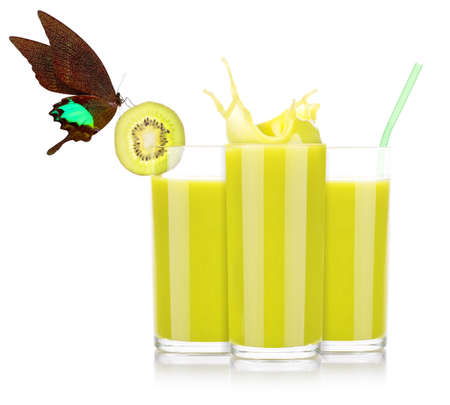 Delicious Smoothies of kiwi in glass  with beautiful butterfly isolated photo