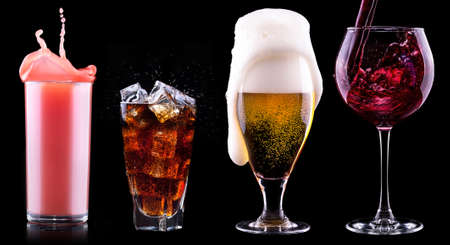 Collection of different images alcohol isolated on a black background photo