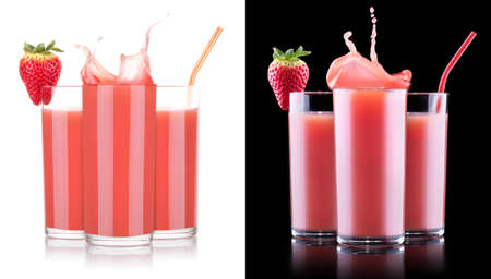 Smoothies of strawberry in glass with splash isolated photo