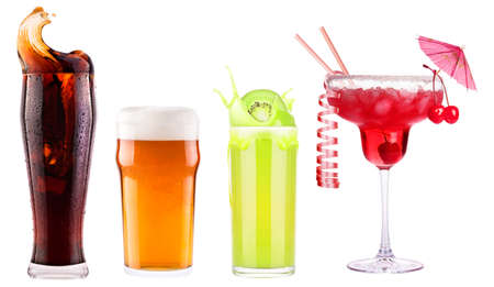 Collection of different images alcohol isolated on a white photo