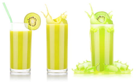 Delicious Smoothies of kiwi in glass with splash isolated on a white background photo