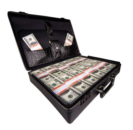 case full of dollar on white background photo