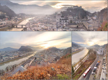 Panoramic view of Salzburg skyline with Festung Hohensalzburg and river Salzach, Salzburger Land, Austria photo