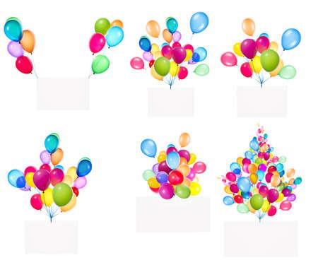 globos de cumpleaños: Banderas de vacaciones con globos de colores aislados en blanco